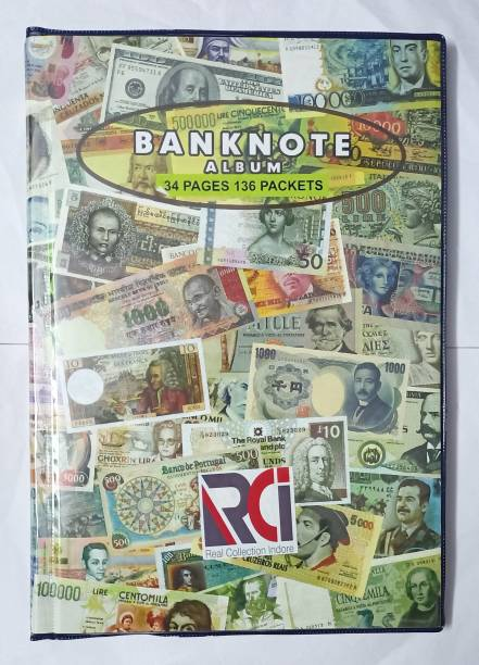 rci 4 Divider Currency Album for Notes 34 Pages With 136 Pockets Currency Note Album Collection - Fits Big Currency Notes Coin Bank