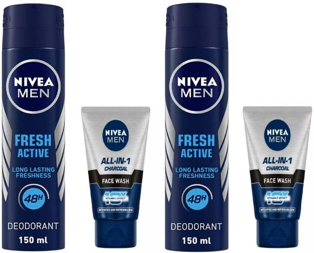 NIVEA Fresh Active Deodorant Spray 150 ml & Men All In One Charcoal Face Wash 50 ml (Pack of 4) #206