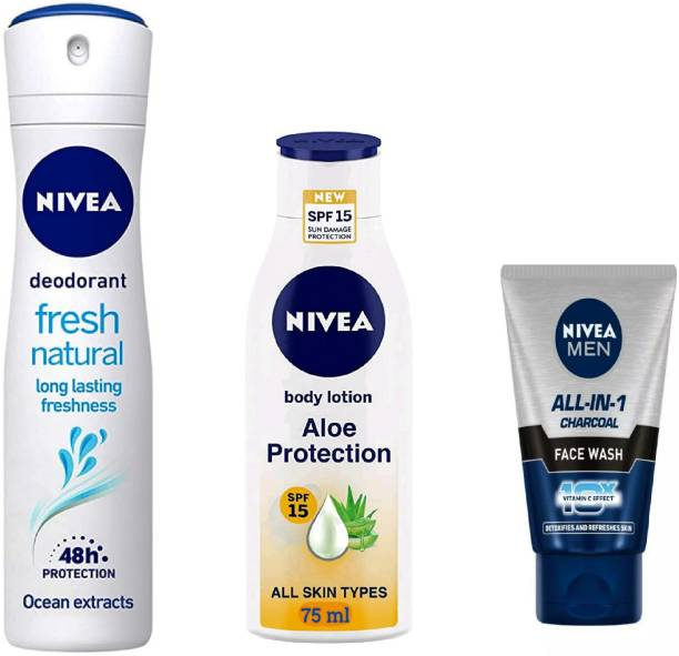 NIVEA Fresh Natural Deodorant Spray 150 ml , Aloe Protection Body Lotion 75 ml & Men All In One Charcoal Face Wash 50 ml #205