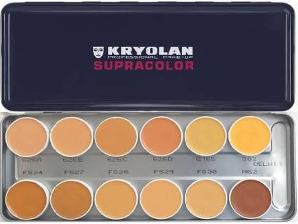 KRYOLAN Supra Color Foundation Palette 12 Color ( Delhi-1 ) Foundation (Delhi 1, 40 ml) Concealer