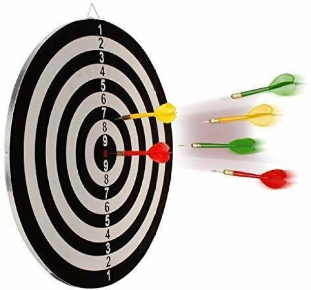 """Smartcraft Front & Back Sided Family Dart Board Game - with 6 Needle (Size-17"""" x 17"""") Steel Tip Dart"""