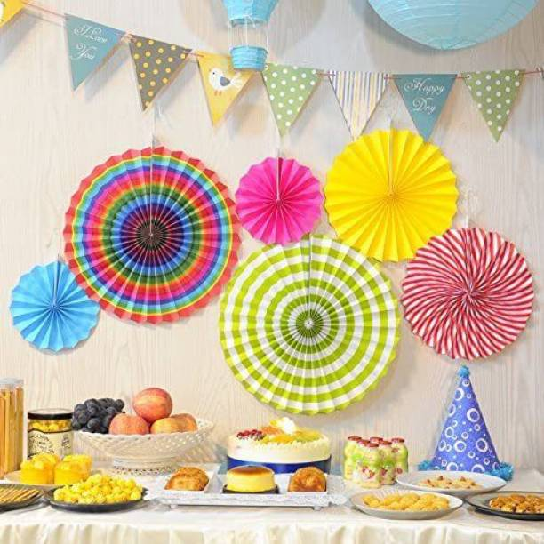 FLYER Rainbow Paper Fan Decoration for Birthday Decorations Items for Boys/Paper Fans Decoration