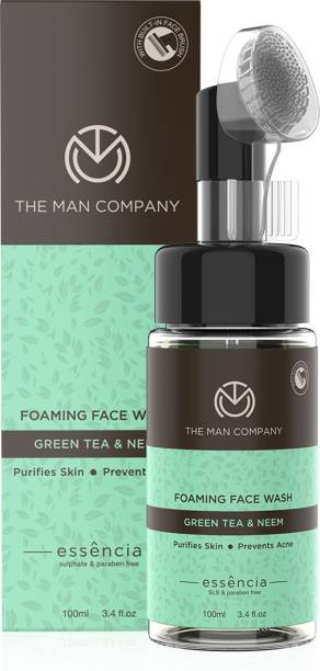 THE MAN COMPANY Foaming | Green Tea and Neem | Acne, Pimple | Exfoliating Brush | 100ml | Oily/Normal Skin Face Wash