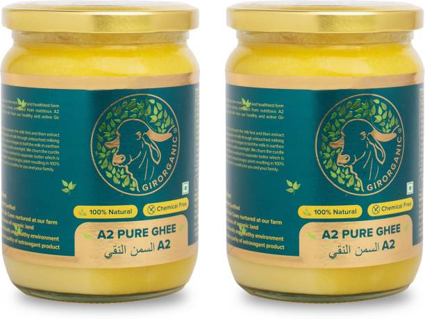 GIRORGANIC GIR COW PURE A2 GHEE 500 ML + 500 ML Ghee 500 ml Glass Bottle