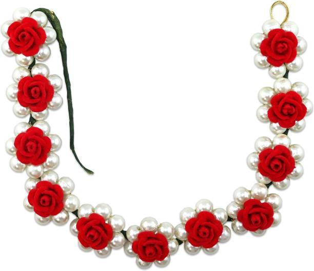 VAGHBHATT Moti Rose Party Bridal Fancy Hair Clip Headband Hair Accessories Tiara for Women and Girls (3Line Flower) Hair Chain