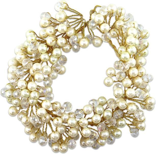 VAGHBHATT Crystal Moti Party Bridal Fancy Hair Clip Headband Hair Accessories Tiara for Women and Girls (3Line Flower) Hair Chain