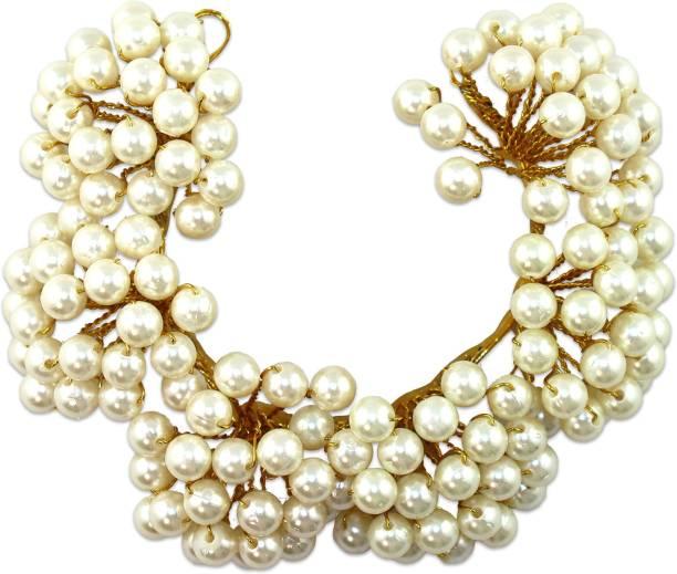 VAGHBHATT Moti Veni Party Bridal Fancy Hair Clip Headband Hair Accessories Tiara for Women and Girls (3Line Flower) Hair Chain