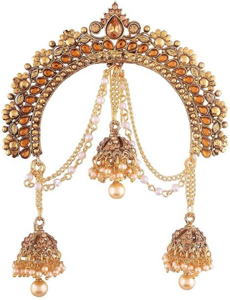 PEORA Gold Plated Wedding Jewellery Hair Accessory Juda Pin with Hanging Jhumki Indian for Women & Girls Hair Pin