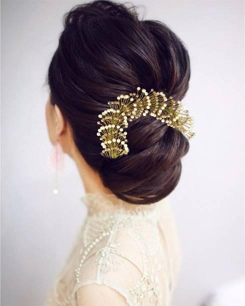 VAGHBHATT Hair Gajra (Veni) Fashion Jewellery Stone Women's Hair Pins Artificial Flowers Accessories (Pearl) (ACC02) Bun