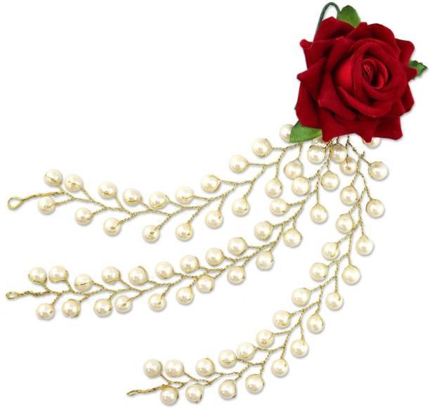 VAGHBHATT 3 Line Red Rose Party Bridal Fancy Hair Clip Headband Hair Accessories Tiara for Women and Girls (3Line Flower) Hair Chain
