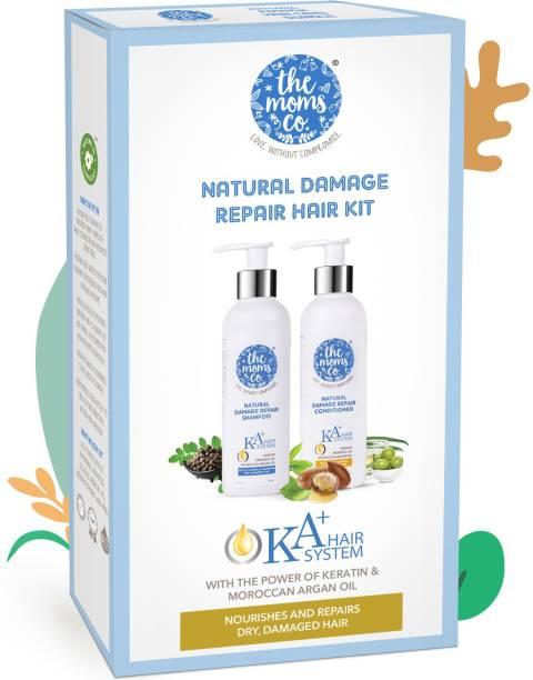 The Moms Co. Natural Damage Repair Hair Kit with KA+ Shampoo and Conditioner