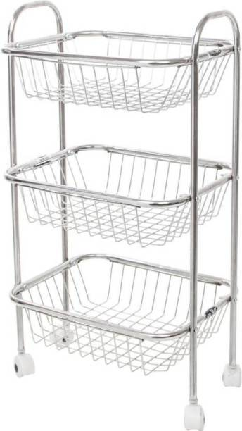 Swati Stainless Steel Fruit And Vegetable 3 PCs Trolley Steel Kitchen Trolley