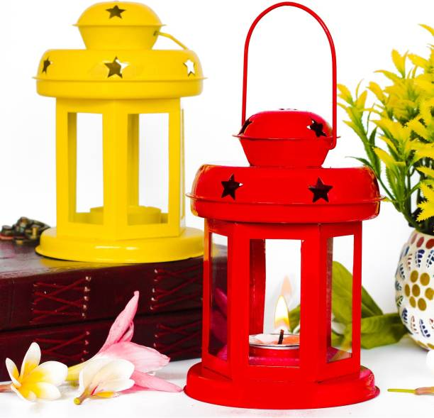 iHandikart Hanging Lantern Decorative Tea Light Holder From iHandikart Handicrafts Home Decor Yellow And Red color Iron Lamp With Candle Tealights & Fastiv Decor 10x10x14 cm (IHK22007) Set of 2 Multicolor Iron Hanging Lantern