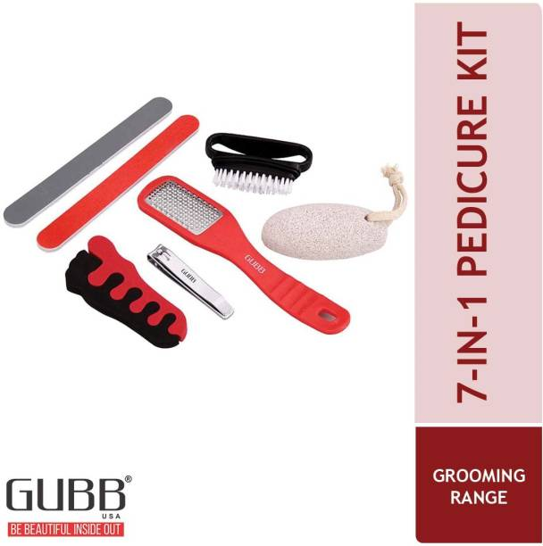 GUBB Pedicure Kit-Nail Cutter,Cleaning Brush,Pumice Stone,Callus Remover,Nail Buffer,Nail Spacer (7 in 1)