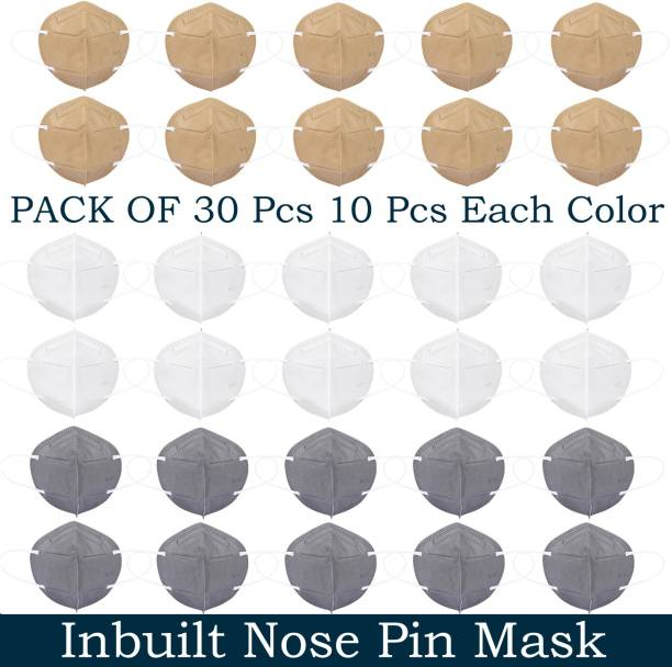 Tresbon TM-COMBO-3-BWG N95 / KN95 FFP2 5 Layer with inbuilt nose pin Reusable Anti - Pollution , Anti - Virus Breathable Face Mask N95 Washable for Men , Women and Kids mask respirator Water Resistant, Reusable, Washable Water Resistant, Reusable, Washable Cloth Mask