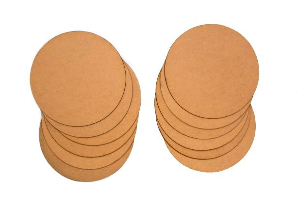 Trendz decor MDF Brown Round Board Sheets with Raw Finishing (Size: 6 x 6 inch) (Thickness: 2 mm) (Set of 12)