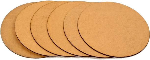 Trendz decor MDF Brown Round Board Sheets with Raw Finishing (Size: 12 x 12 inch) (Thickness: 2 mm) (Set of 12)