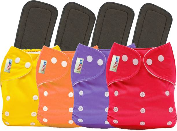 LILTOES 4 Reusable Cloth Diaper + 4 Bamboo Charcoal Inserts - Multi Colour