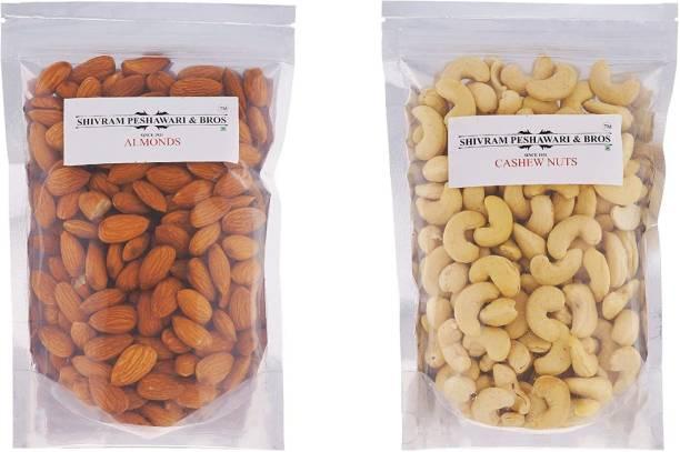 SHIVRAM PESHAWARI & BROS Best Dry Fruit Combo -Cashew Nuts 250 Grams and Almonds 250 Grams Cashews, Almonds