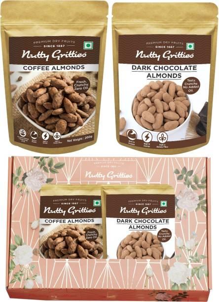 Nutty Gritties Signature gift Box - Chocolate Almonds 200g, Coffee Almonds 200g, Combo - Almonds