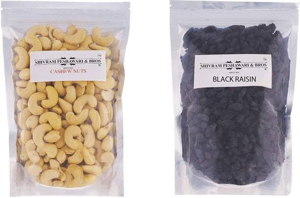 SHIVRAM PESHAWARI & BROS Cashewnuts and Kali Kishmish - 250g Each Cashews, Raisins