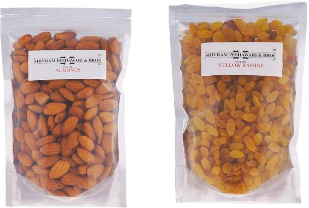 SHIVRAM PESHAWARI & BROS Almonds and Yellow Kishmish - 250g Each Almonds, Raisins