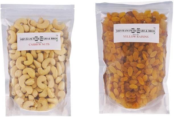 SHIVRAM PESHAWARI & BROS Cashewnuts and Yellow Kishmish - 250g Each Cashews, Raisins
