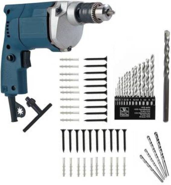 Tulsway 350W, 10MM Electric drill machine with control 13pc hss And 5pcs Masonry Drill bits and 20 pcs use full Accessories . Pistol Grip Drill Power & Hand Tool Kit
