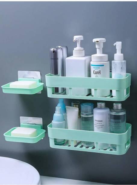 HXOSET Multipurpose Kitchen Bathroom Rack Storage Shelves Bathroom Storage Rack Soap Box Stand Shower Rack ABS Plastic Storage Holder Combo with Magic Sticker Shelf ( 2 Bathroom Shelves + 2 soap Box) (White)