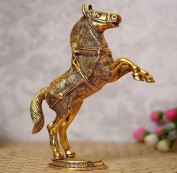 Khadak Crafts Golden Jumping Horse Metal Animal Figurine Decorative Showpiece  -  26 cm