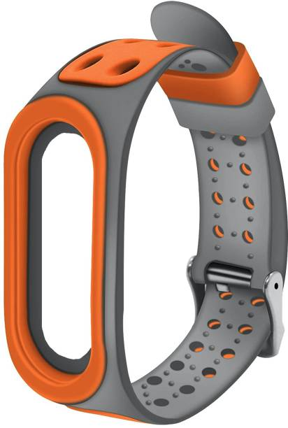 Epaal Super Soft Durable Breathable Strap with Metal Buckle (Orange-Grey) Compatible with MI BAND 5 Smart Watch Strap