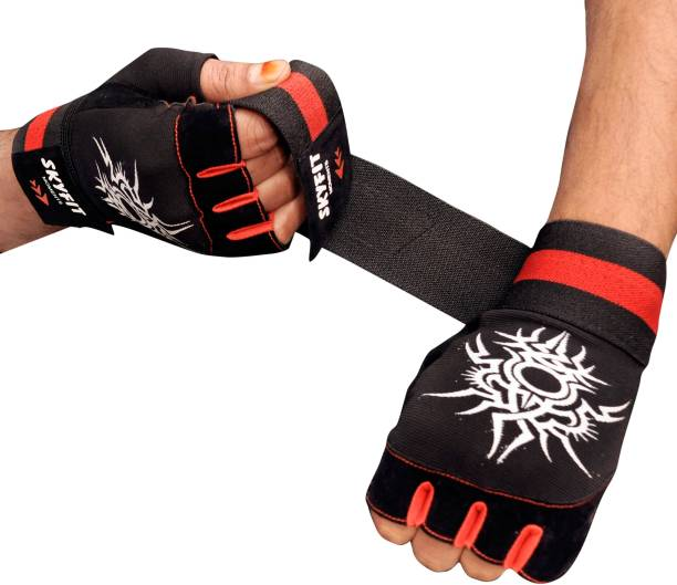 SKYFIT Super Leather Padded Wrist Support Gym Sports Gloves For Men And Women Gym & Fitness Gloves