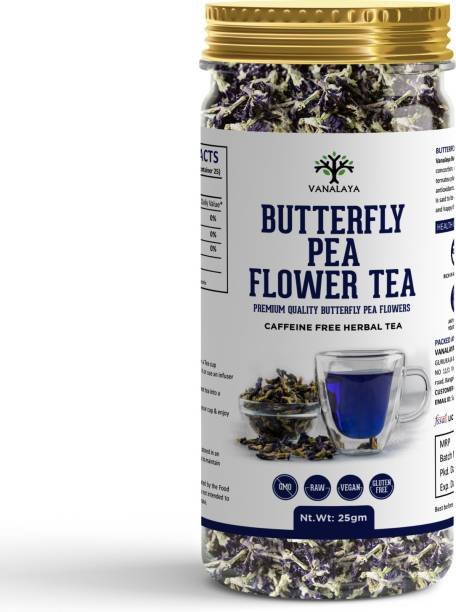 Vanalaya Butterfly Pea Tea Rich in Antioxidants For weight loss Reduce stress and Anxiety Herbal Tea Plastic Bottle