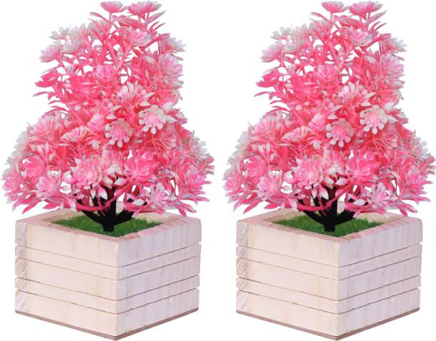 MODO Artificial Plant with Wooden Square Pot for Home & Office Decor/Guldasta (20 CM) - (Pink Color, Set of 2) Bonsai Wild Artificial Plant  with Pot
