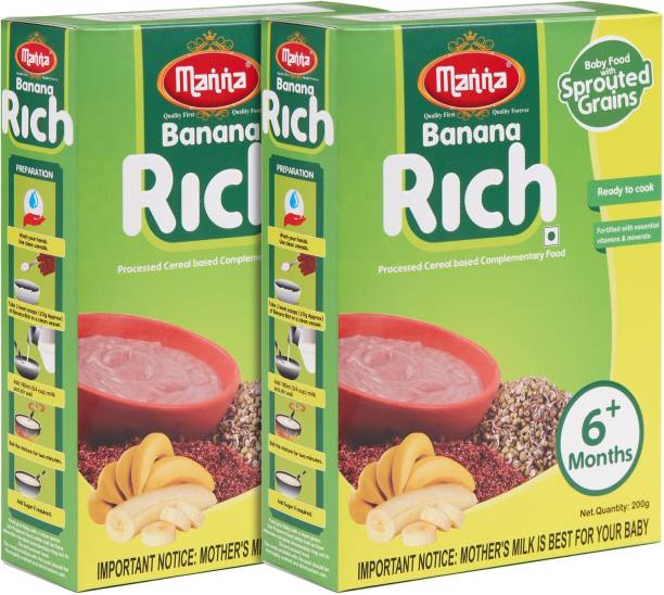 Manna Banana Rich | Fortified Sprouted Ragi, Green Gram, Bengal Gram with Banana Powder Cereal for Babies/Infants (6+ Months) | No Artificial Colour, Flavour & Preservatives Cereal