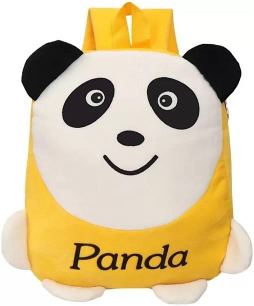 3G Collections Yellow Panda Velvet Soft Toy Kids Plush Bag/School Bag/Teddy Bag For Kids 2-6yrs Waterproof School Bag