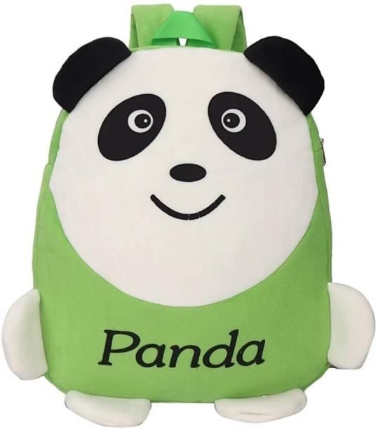 3G Collections Green Panda Velvet Soft Toy Kids Plush Bag/School Bag/Teddy Bag For Kids 2-6yrs Waterproof Plush Bag