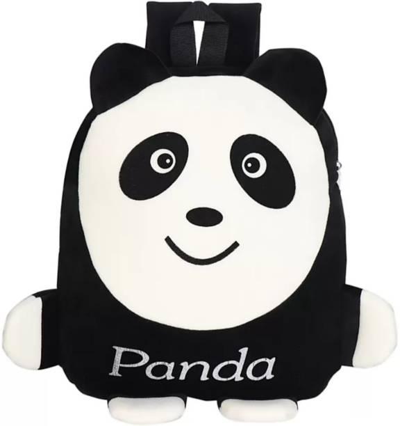3G Collections Black Panda Velvet Soft Toy Kids Plush Bag/School Bag/Picnic Bag/Teddy Bag For Kids 2-6yrs Waterproof Plush Bag
