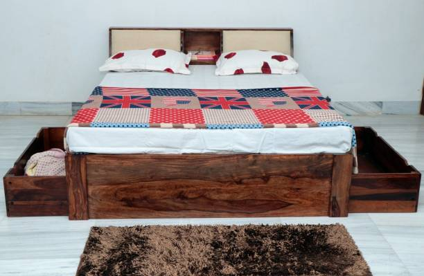 FURINNO King Drawer Bed Solid Wood King Bed