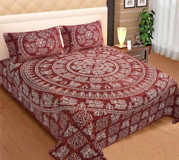 BEE WOW 330 TC Cotton Double King Animal Bedsheet
