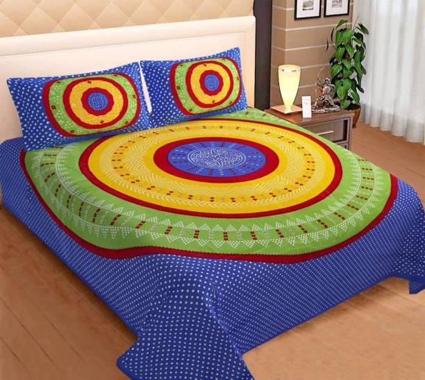 BEE WOW 330 TC Cotton Double King Jaipuri Prints Bedsheet