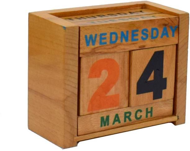 Wigano Wooden Minimal Blocks Desk Calender for School,Office & Home 2021 Table Calendar