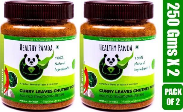 HEALTHY PANDA Curry Leaves Chutney Powder also known as Kadi patta Chatni, Karivepaku Chatani, Curry Leaves Karam podi, Kerbevu Chutny (100% Natural & Healthy) - 250 Gram, Pack of 2 Chutney Powder