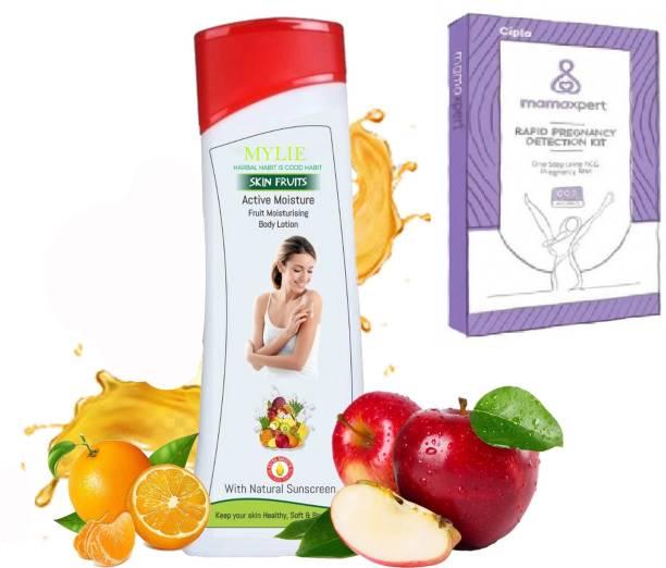 Mylie Active Moisture with Natural Sun screen Fruit moisturizing Body Lotion & Cipla MAMAXPERT RAPID PREGTEST CARD Pregnancy Test Kit