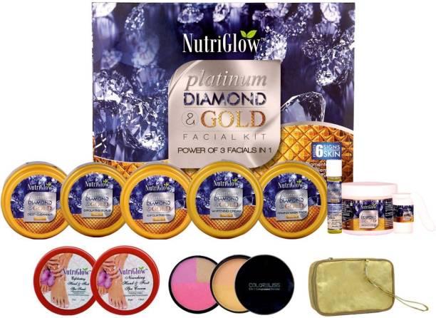 NutriGlow Platinum Diamond Facial Kit (250+10) g with Makeup Kit