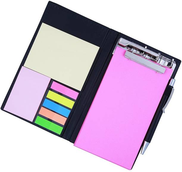 PAPERLLA Memo Note Pad/Memo Note Book with Sticky Notes & Clip Holder in Diary Style (Pink) Pocket-size Notebook UNRULED 50 Pages