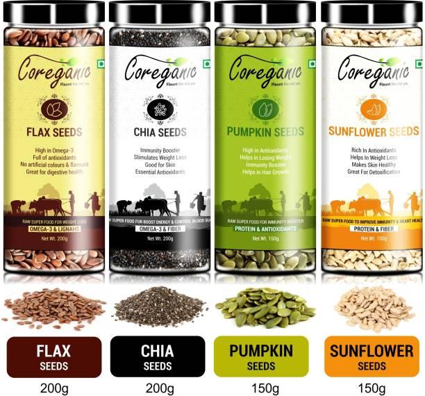 Coreganic Certified Raw Combo Seeds Value Pack (FLax Seed,Chia Seed,Pumpkin Seed & Sunflower Seed)
