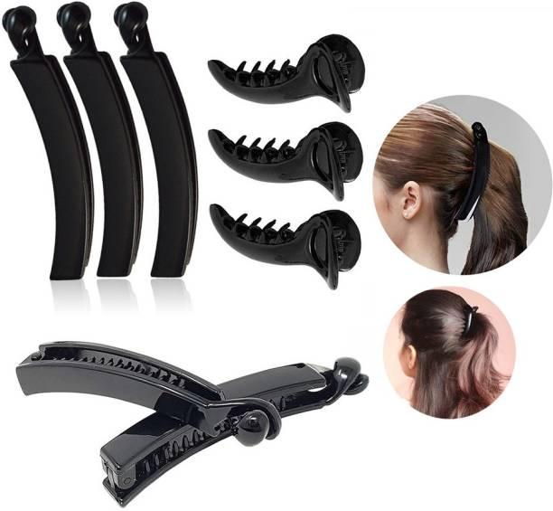 BHARATGAURAV Banana Clip 3 Pcs & Mirchi Shape Hair Clip 3 Pcs Black Color For Women and Girls Hairstyles… Banana Clip