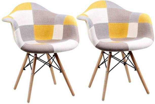 Urbancart Patchwork Modern Arm Chair with Wooden Legs for Home, Office, Indoor, Outdoor Fabric Living Room Chair