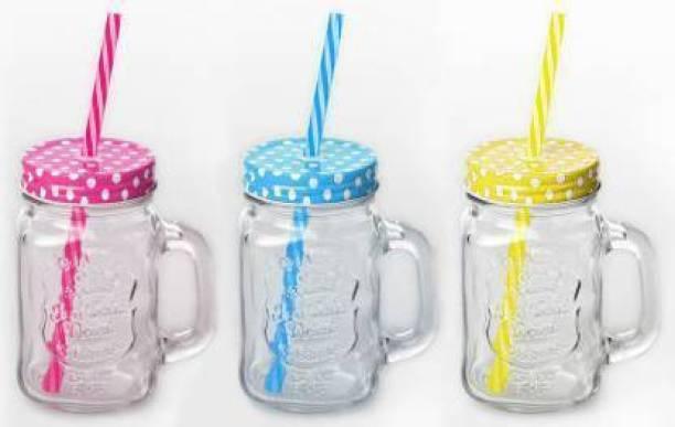 MEGNETON Megnetons Jar Bottle with Handle, Colored Cap Lid & Straw for Juice / Cocktail / Mocktail Glass Mason Jar (450 ml, Pack of 3) Glass Mason Jar